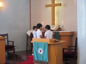 お誕生会の礼拝の中でいつものように東日本大震災のための献金をします。