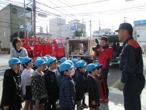 今日は年長さんは、消防署を感謝訪問しました。お忙しいのに暖かく迎えて下さいました。