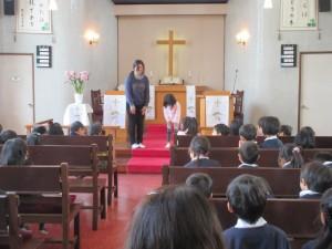 礼拝後に、三学期から入園するお友達の紹介がありました。年少さんに1名です。